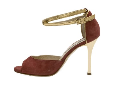 Lily Double Strap Glossy Bordeaux and Gold Metallic Leather
