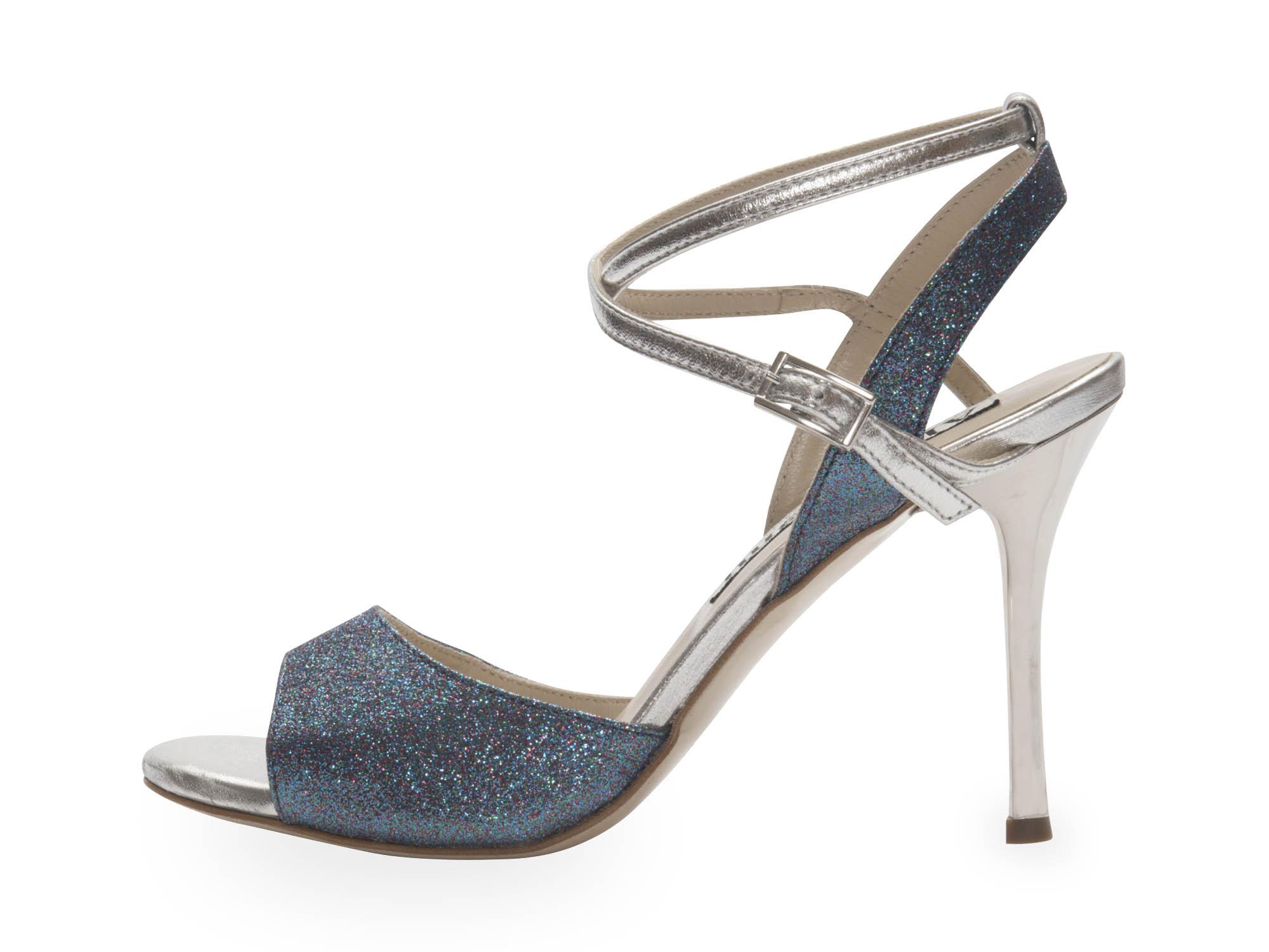 Maia Double Strap Blue Multi Colour Glitter and Silver metallic Leather
