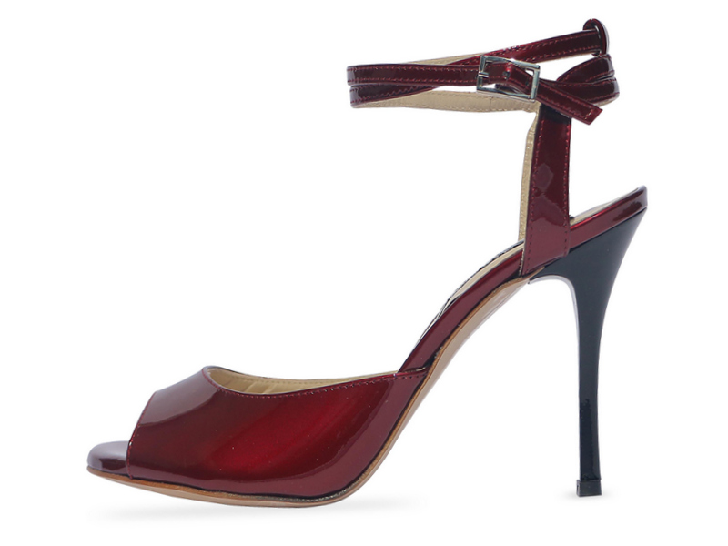 Gloria Double Strap Bordeaux Pearl Patent Leather