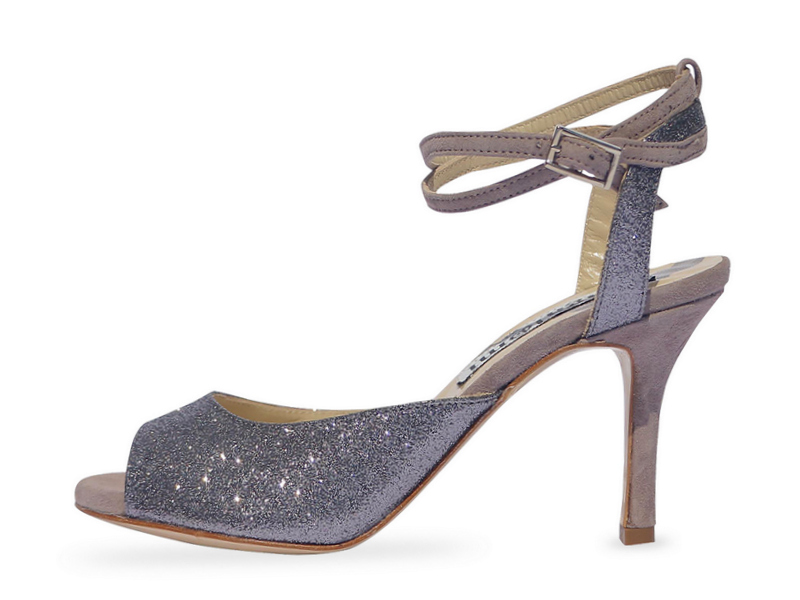 Gloria Double Strap Pewter Glitter and Mink Suede