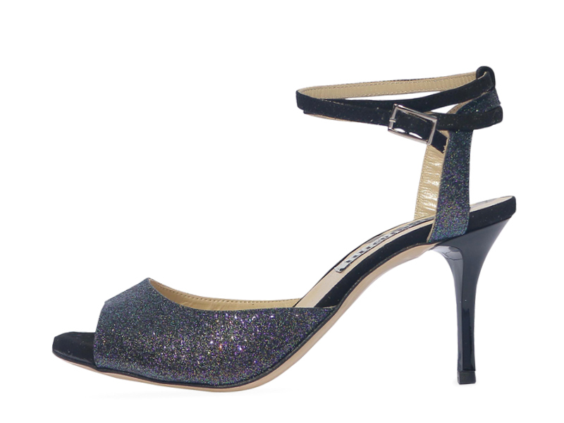 Gloria Double Strap Black Iris Glitter