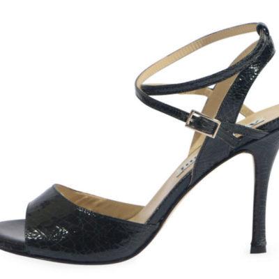 Maia Double Strap Black Crac Leather