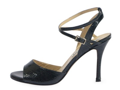 Maia Double Strap Black Crac Leather