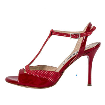 Alma in Red Patent and Red Polka Dots Leather