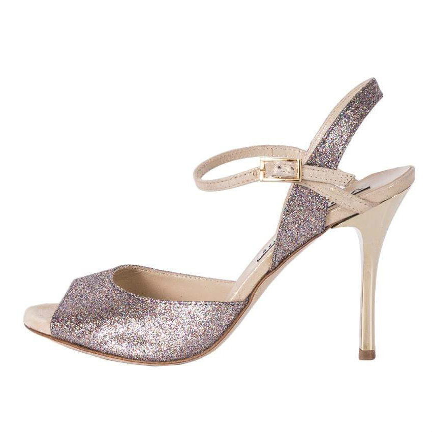 Dalia Single Strap in Beige Multi Glitter