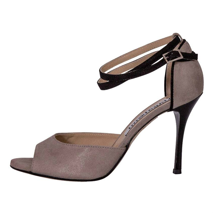 Lily Double Strap Glossy Grey and Black Strap