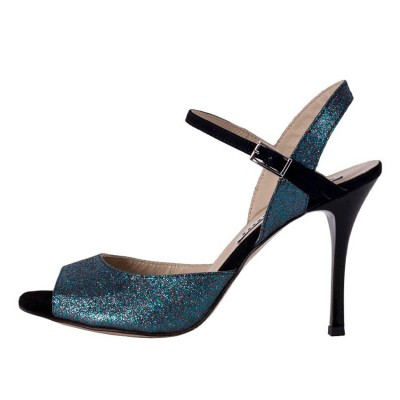 Dalia Single Strap Blue Multi Colour Glitter and Black Leather