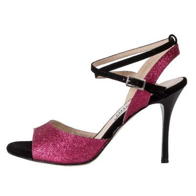 Maia Double Strap Burgundy Glitter and Black Suede
