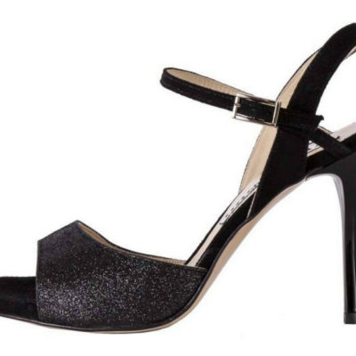 Maia Single Strap Black Glitter and Black Suede