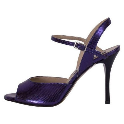 Rosa Single Strap Deep Purple Tejus Metallic Leather