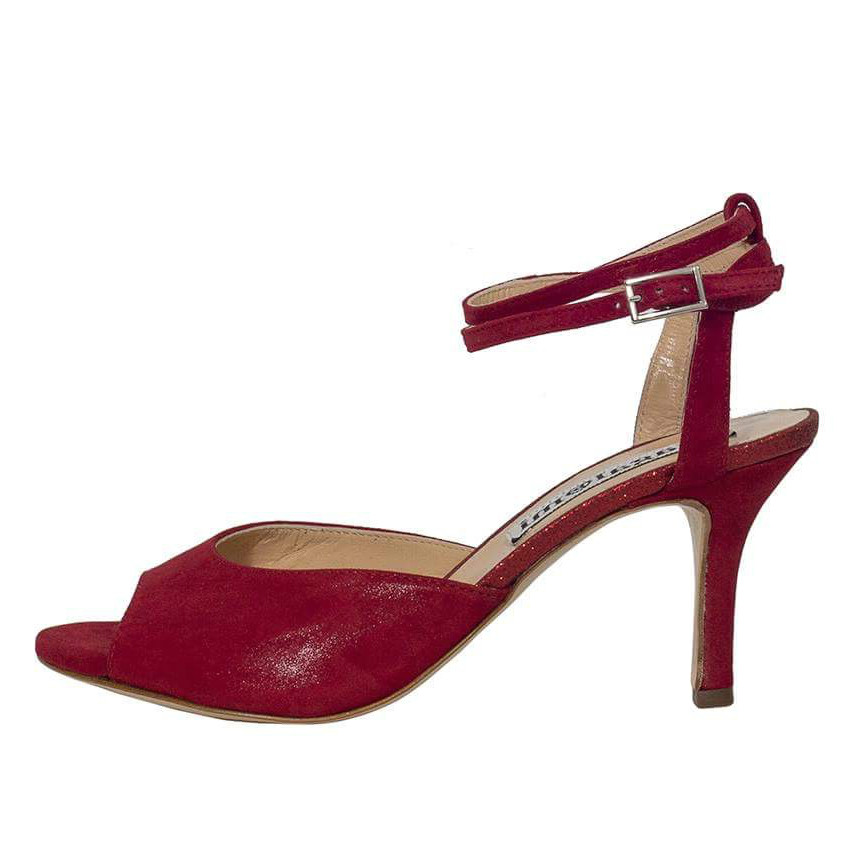 Iris Double Strap Glossy Red & Glitter insole Leather