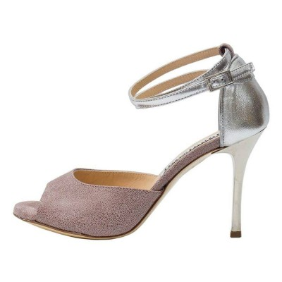 Lily Double Strap Cameo Pink and Silver Metallic Leather