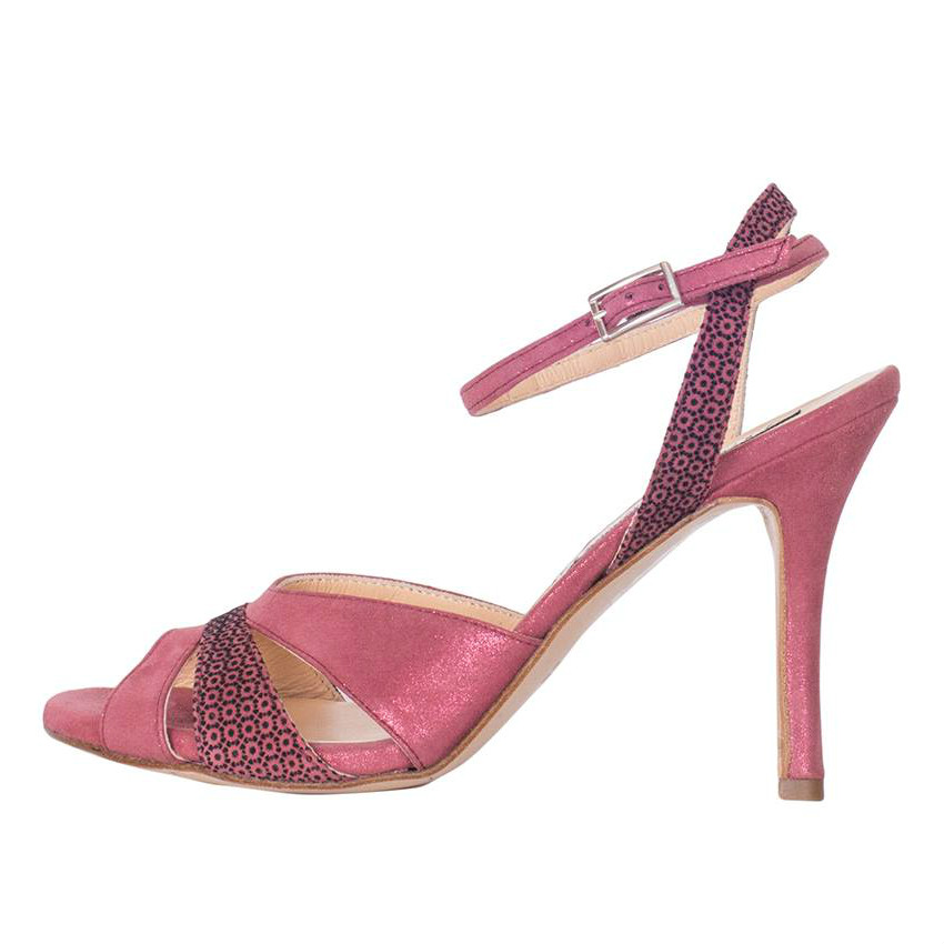 Ivonne Glossy Blush and Blush mosaïque Leather Combi