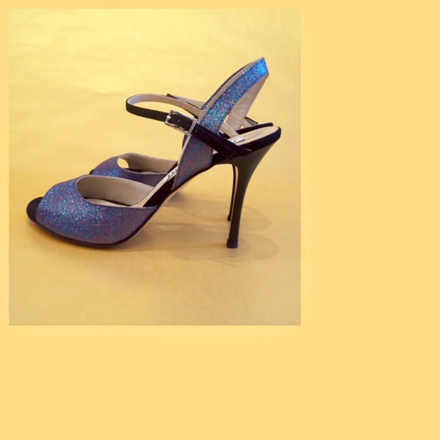Dalia Single Strap Blue Multi Colour Glitter and Black Leather