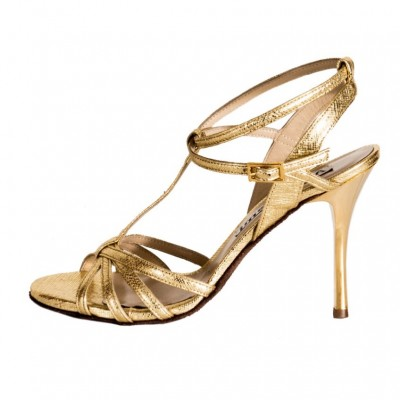 Estrella Double Strap Gold Saffiano Metallic Leather