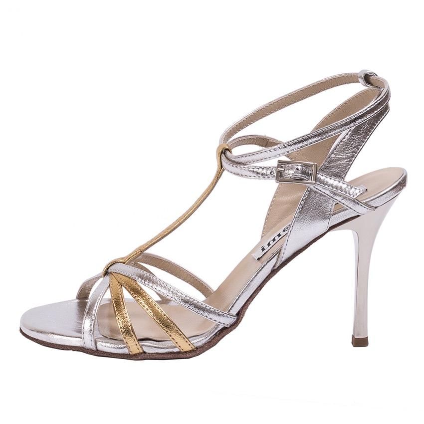 Estrella Double Strap Gold and Silver Leather Combination