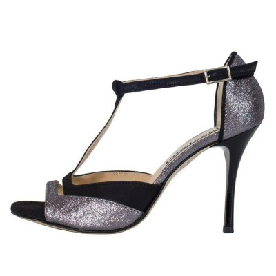 Marlene Pewter Glitter and Black Suede Combination