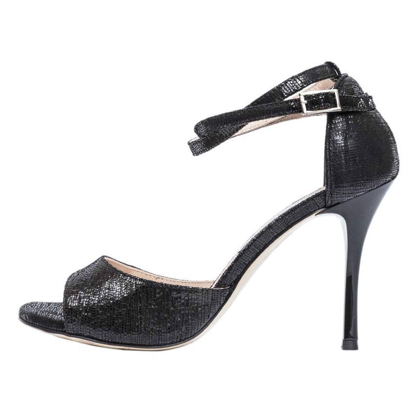 Beso Double Strap Black Brasd Shinny Leather