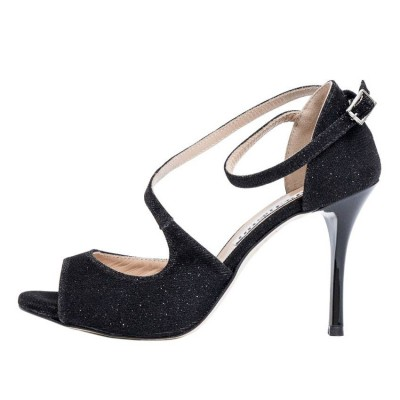 Venus Black Lurex and Black Slim Heels