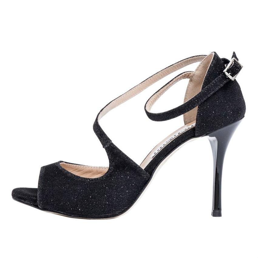 Venus Black Lurex and Black Slim Heels