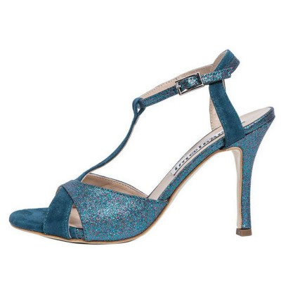 Maleva Teal Suede and Blue Multi Colour Glitter Combination