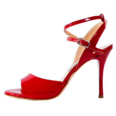 Maia Double Strap Deep Red Patent Leather