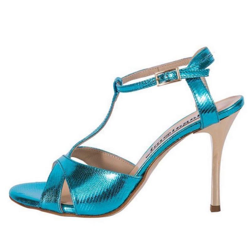 Maleva Turquoise Tejus Metallic Leather