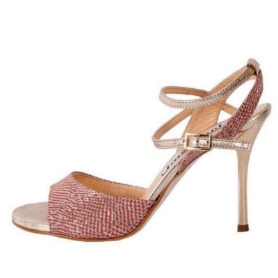 Maia Double strap in Goa Poppy Red and Gold Metallic Leather