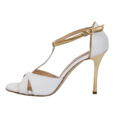 Mariposa White Nappa & Gold Metallic Leather