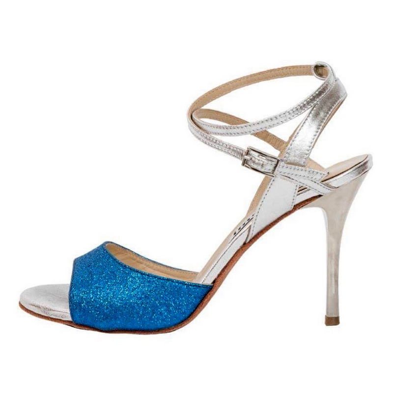 Maia Double Strap Sky Blue Glitter and Silver Metallic Leather