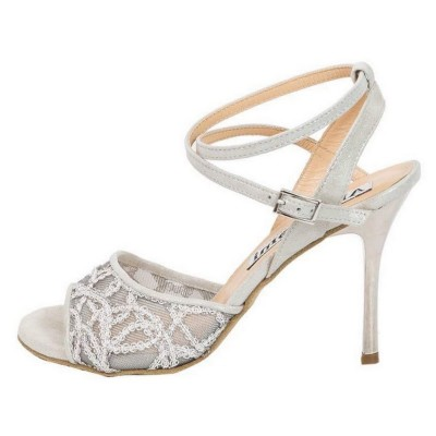 Maia Double Strap Silver Lace and White Glossy Leather