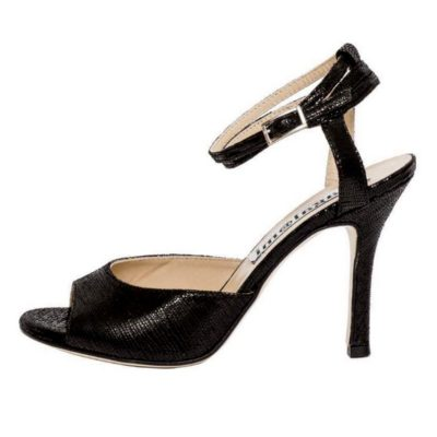 Iris Double Strap Black Brasd Shinny Leather