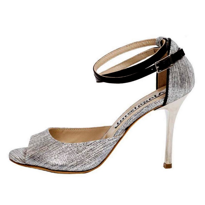 Flor Double Strap Chantal White/Silver Leather