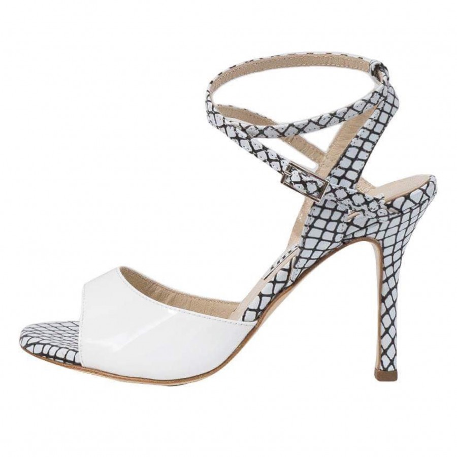 Maia Double Strap Black and white Mesh and White Patent Leather