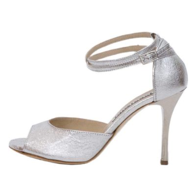 Lily Double Strap Crac Silver Leather