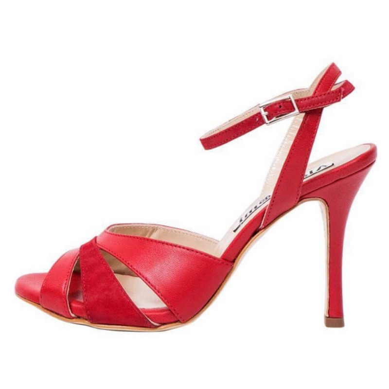 Ivonne Red Nappa and Red Glossy Combination Leather