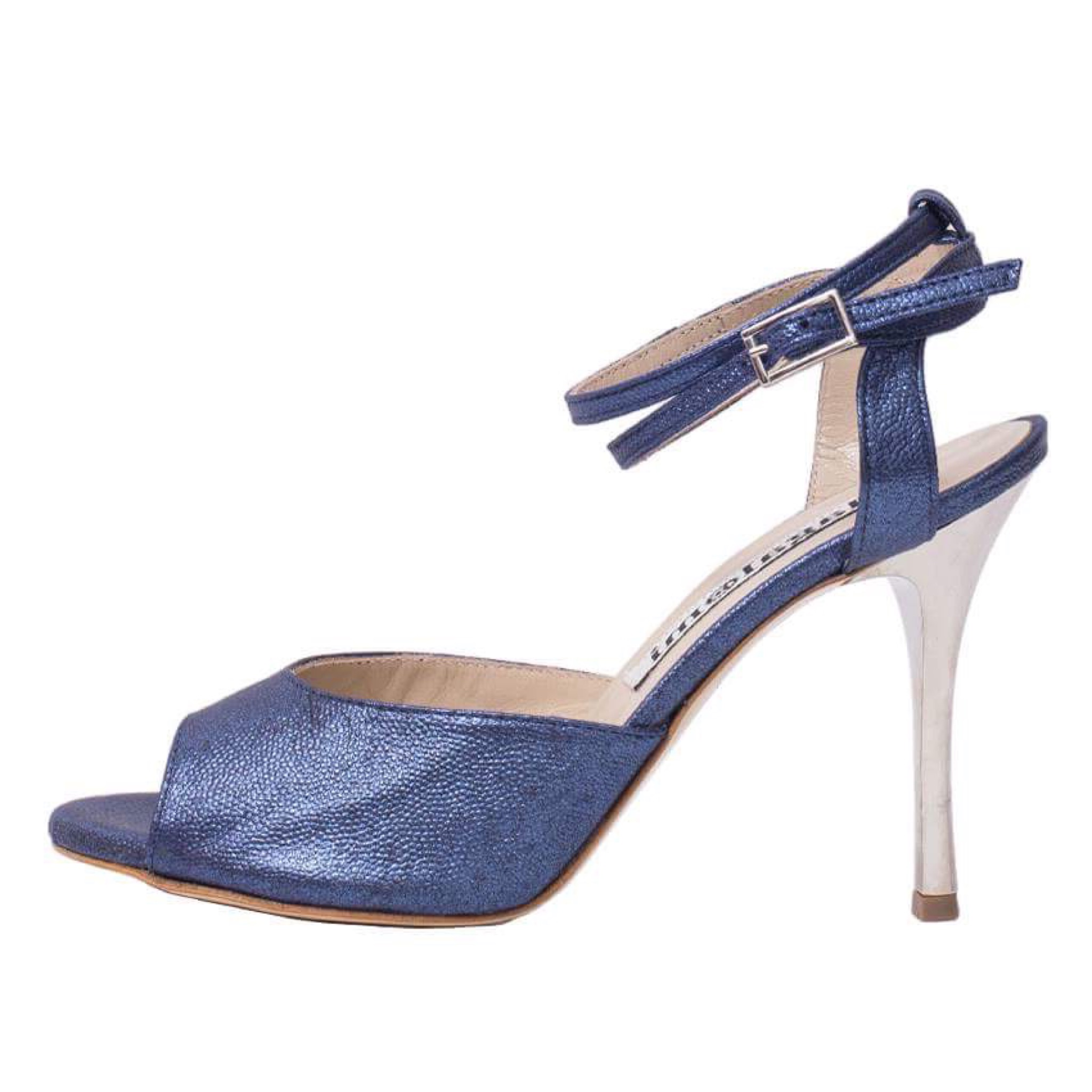 Lily Double Strap Sapphire Blue Metallic Leather