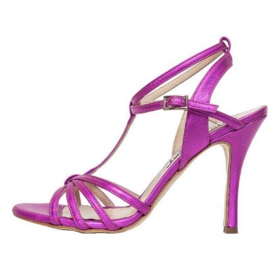 Estrella Double Strap  Magenta Metallic Leather