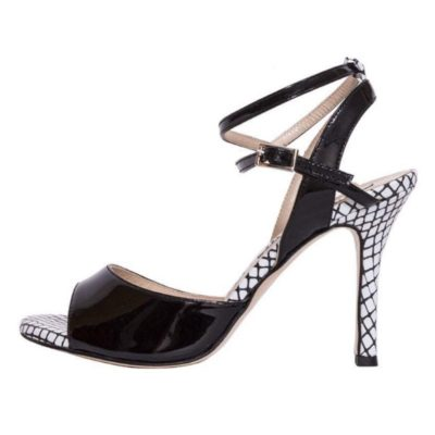 Maia Double Strap Black Patent and Mesh Patent Leather