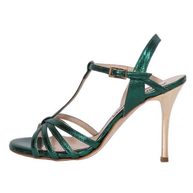 Estrella Single Strap Forest Green Metalic Tejus Leather