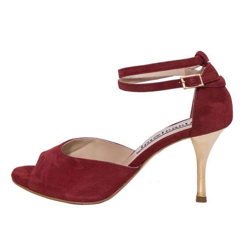 Lily Double Strap Glossy Bordeaux Soft Leather