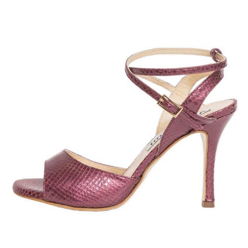 Maia Double Strap Cranberry Viper Leather