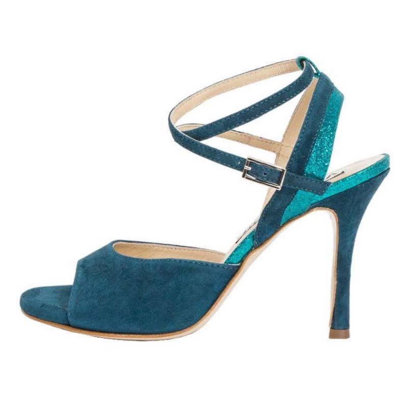 Maia Suede Teal and Cayman Green Glitter Combination