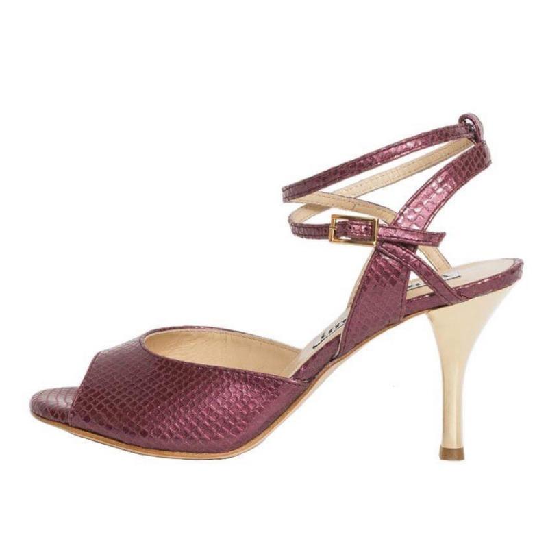 Rosa Double Strap Cranberry Viper Leather