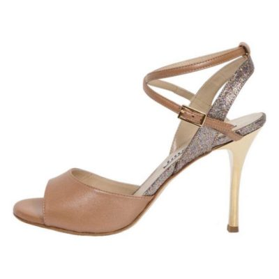 Maia Double Strap Rainbow Glitter and Sahara Nappa Leather