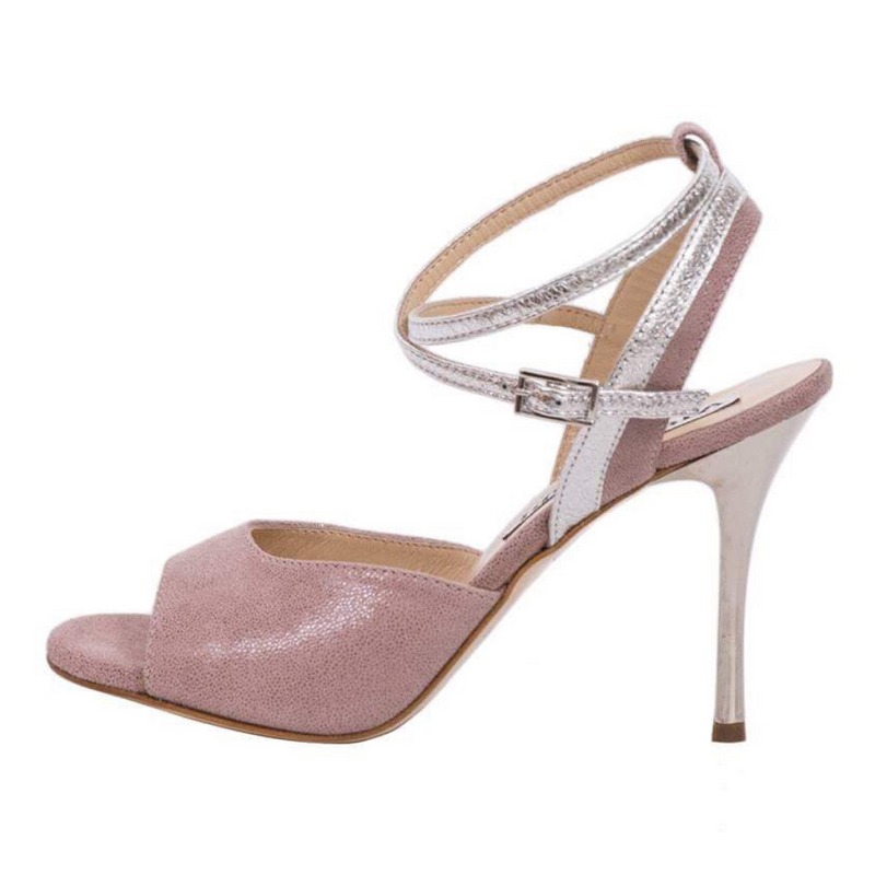 Nina Cameo Pink and Silver Metallic Leather Combination