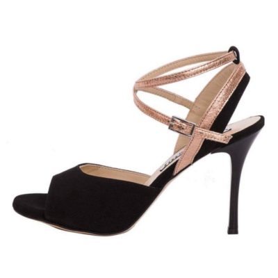 Nina Black Suede and Copper Metallic Leather Combination