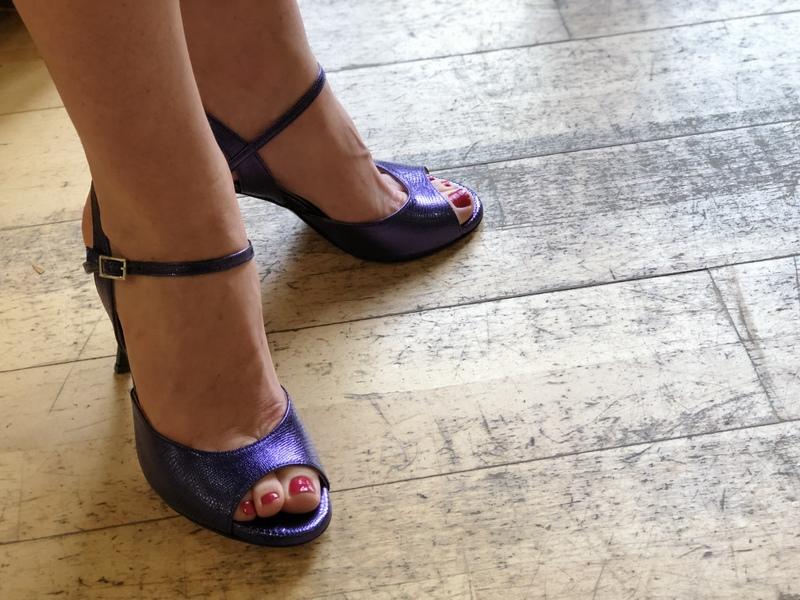 Rosa Single Strap Deep Purple Tejus Metallic Leather