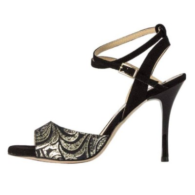 Maia Double Strap Black and Gold Paisley Leather