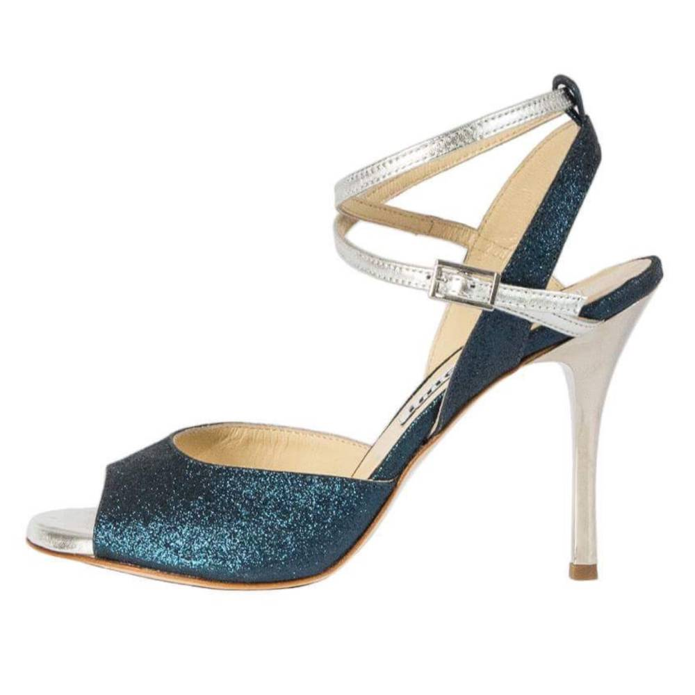 Rosa Double Strap Deep Blue Glitter and Silver Metallic Leather